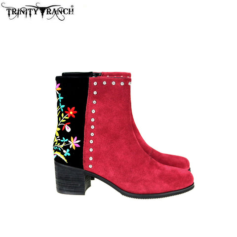 LBT-005  Trinity Ranch Western Leather Suede Booties Embroidered Collection