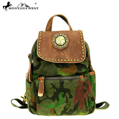 MTB-7004 Montana West Genuine Leather Canvas Travel Bag Collection Mini Backpack
