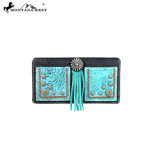 MW587-W010 Montana West Concho Collection Secretary Style Wallet
