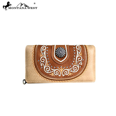 MW712-W010 Montana West Concho Collection Secretary Style Wallet
