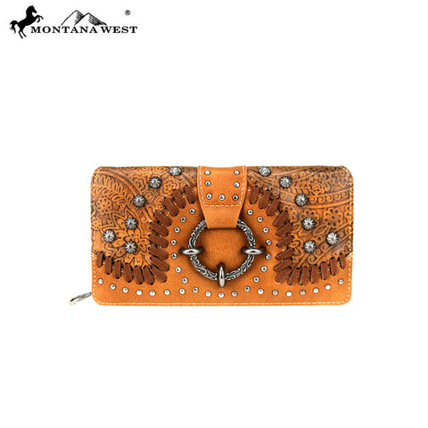 MW747-W010 Montana West Concho Collection Secretary Style Wallet