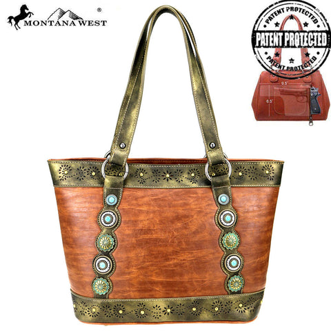 MW819G-8317 Montana West Concho Collection Concealed Carry Tote
