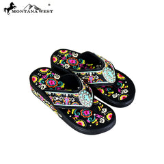 SF02-S098 Montana West Fun Novelty Embroidered Collection Flip Flops