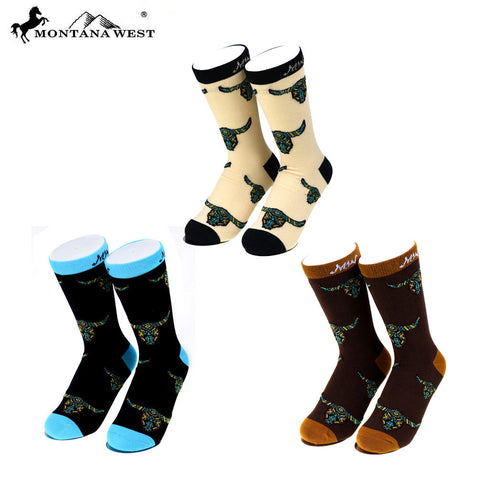 SK-004 Montana West Steer Head Collection Sock Assorted Color (6pcs/Box)