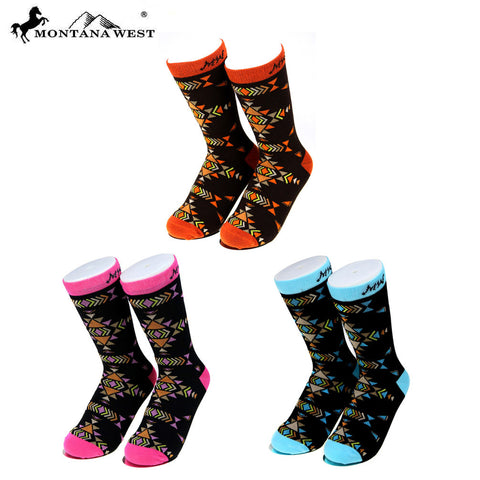 SK-005 Montana West  Aztec Collection Sock Assorted Color (6pcs/Box)