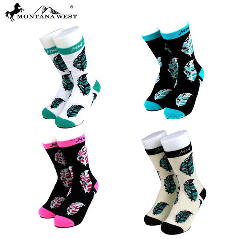 SK-008  Montana West  Feather Collection Sock Assorted Color (6pcs/Box)