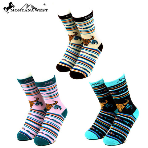 SK-009  Montana West  Steer Head Collection Sock Assorted Color (6pcs/Box)