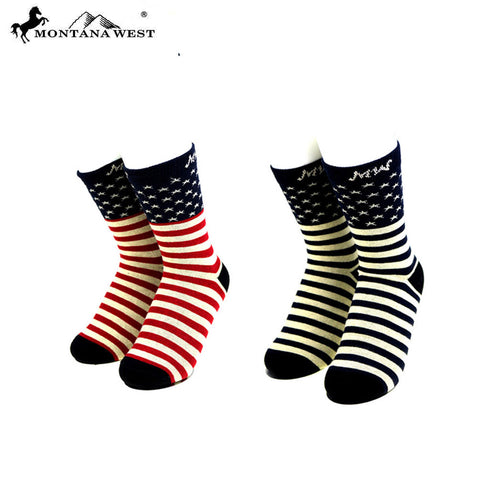 SK-US02  Montana West  American Pride Collection Sock Assorted Color (6pcs/Box)