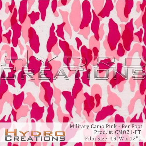 Military Camo Pink - Per Foot - Hydro film for hydro dipping and water transfer printing - HydroCreations
