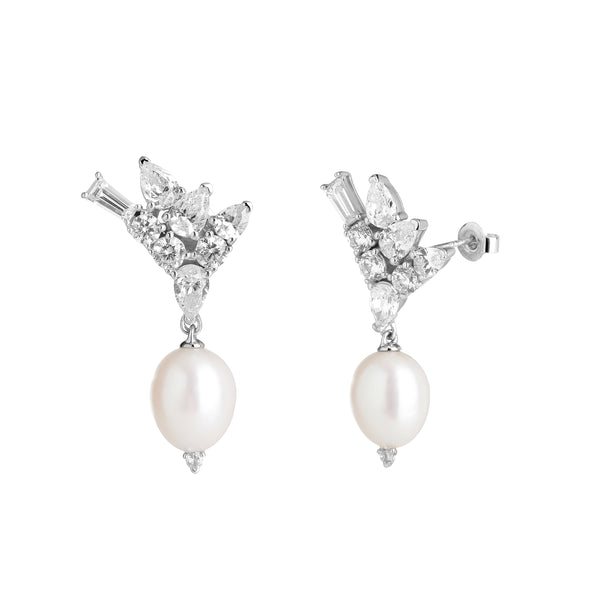 CLUSTER CZ & FRESHWATER PEARL DROP EARRINGS