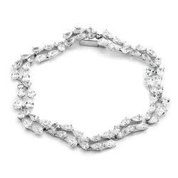 DOUBLE ROW PEAR CZ LINE BRACELET