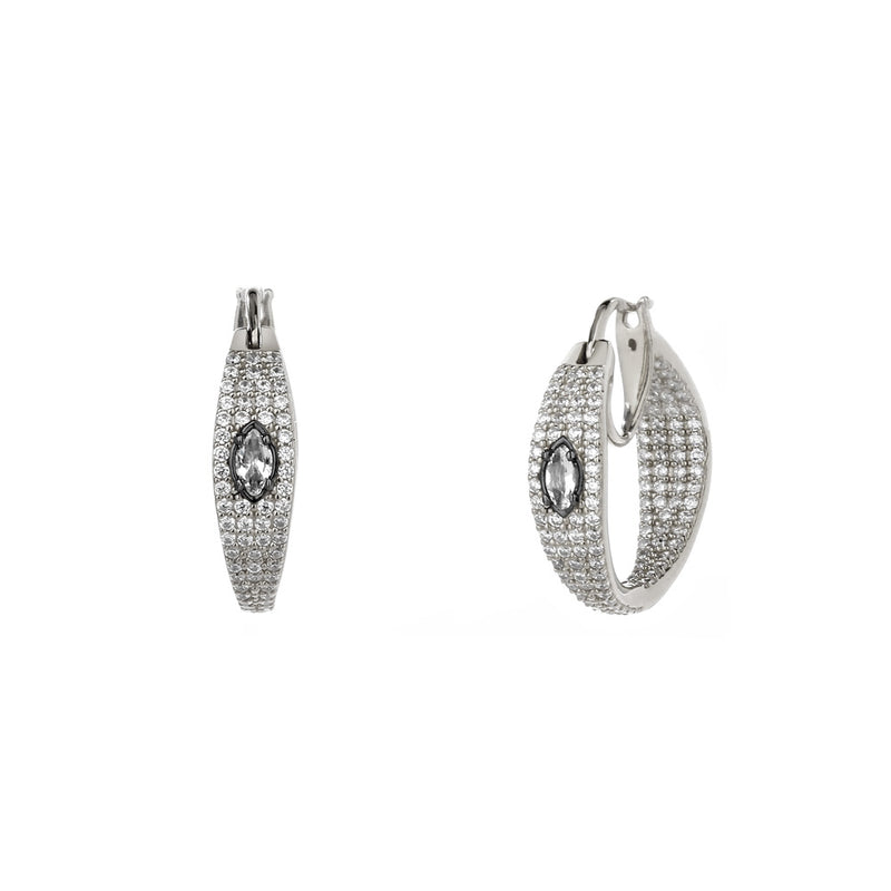 COMO WHITE TOPAZ AND PAVE CZ SMALL HOOP EARRINGS