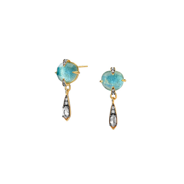 AGEAN GEMSTONE TRIPLET AND WHITE TOPAZ SMALL DROP STUD EARRINGS