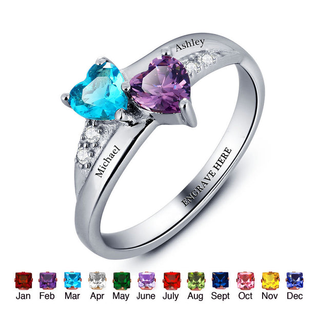 Personalized 2 Stone 925 Sterling Silver Birthstone Ring