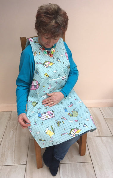 Camping design Dining drApon® to protect clothing from spills. More dignified than an adult bib.