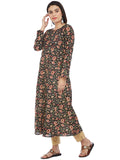 Hand Block Printed Kalamkari Print Kurta with Round Yoke & Full Sleeves