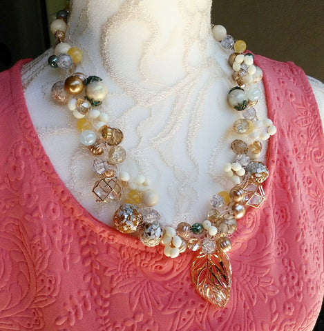 Pearl and Crystal Bridal Statement Necklace, Wedding Jewelry, Party Necklace