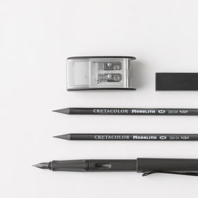 Autotype Black Set - Palomino Blackwing Pencil - Pentel Hi-Polymer Ain Eraser - Monolith Woodless Graphite Pencil - Lamy Safari Fountain Pen