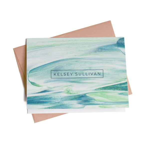 Blue and Green Waves Personalized Note Cards, 10 Card Set