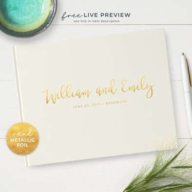 Charming Wedding Guest Book in Your Choice of Cover Colors Personalized with Real Metallic Gold Foil