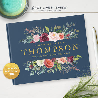 Personalized Floral Wedding Guest Book with Metallic Foil Lettering