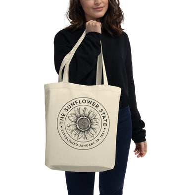 Sunflower State 100% Organic Cotton Tote Bag