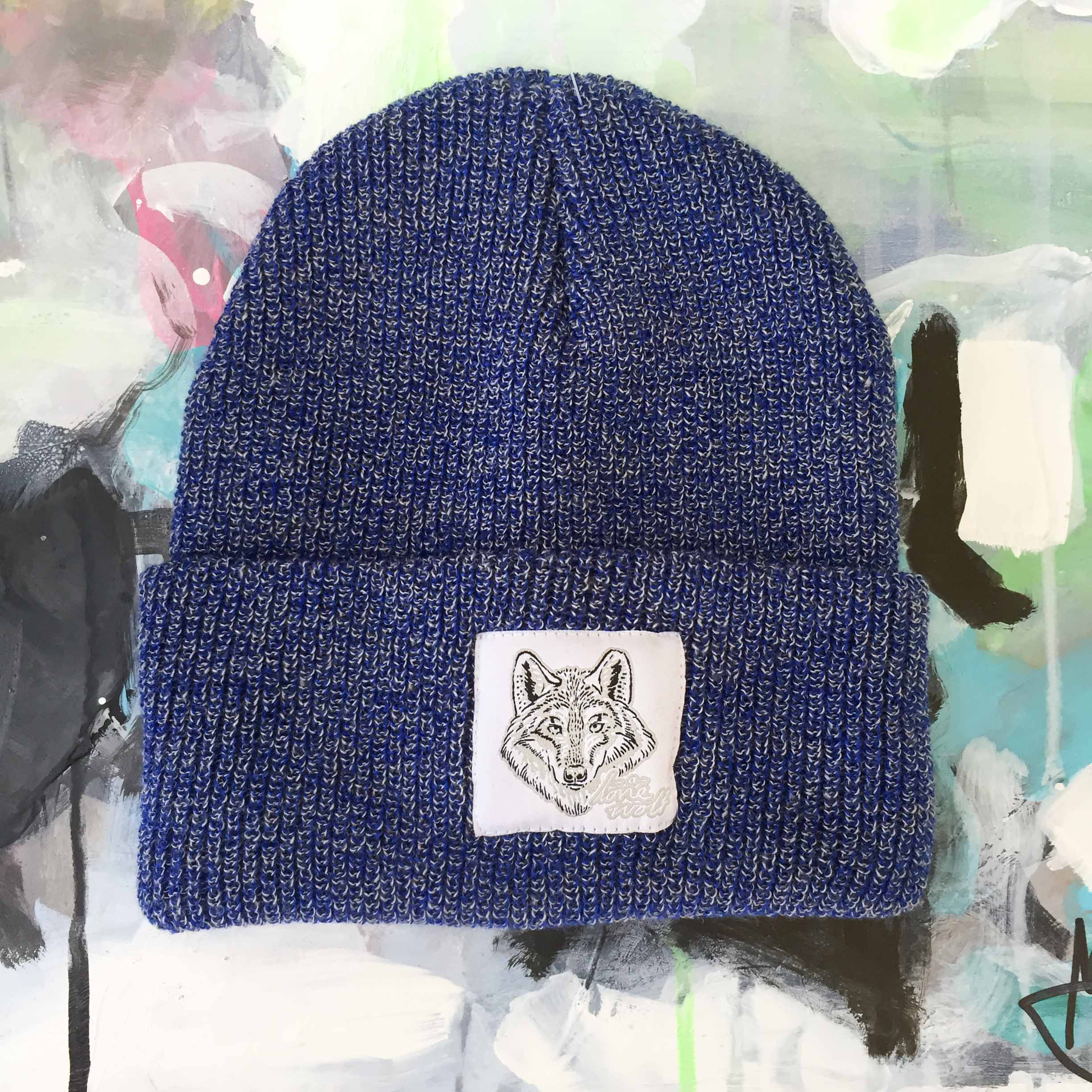 Lone Wolf -  Blue Speckled Beanie