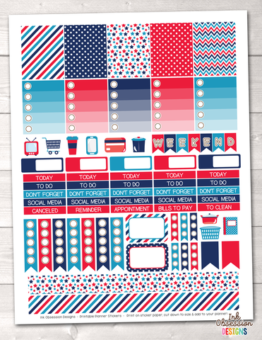 Instant Download Planner Stickers 4th of July Weekly Kit