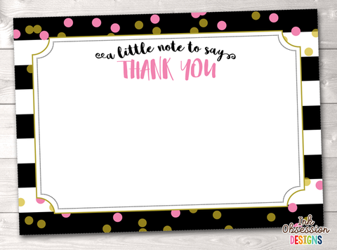 Black Stripes and Pink & Gold Polka Dots Printable Thank You Cards
