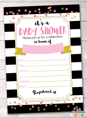 Black Stripes and Pink Baby Shower Invitation Printable PDF