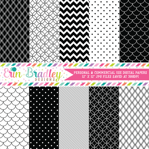 Commercial Use Black White Digital Paper Pack
