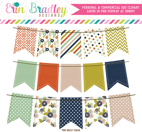 Colorful Fall Clipart Bunting