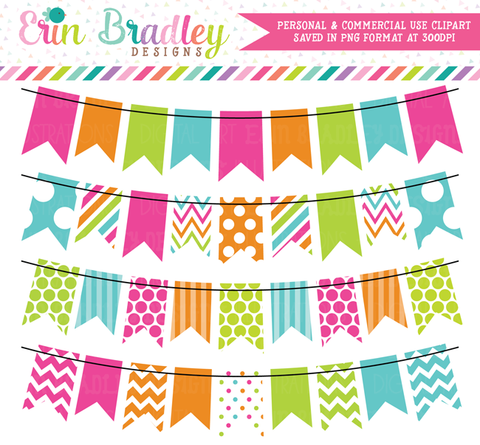 Colorful Rainbow Bunting Flags Clipart