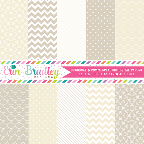 Beige and Cream Digital Paper Pack