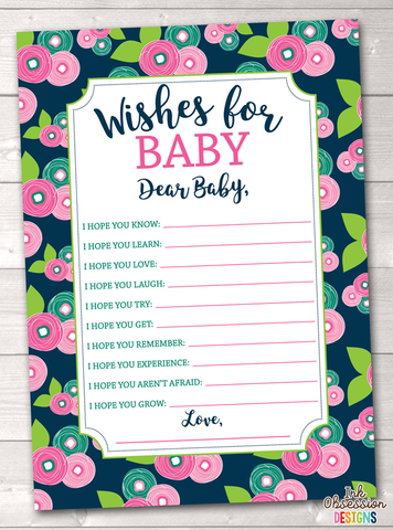 Floral Bloom Printable Baby Wishes Cards