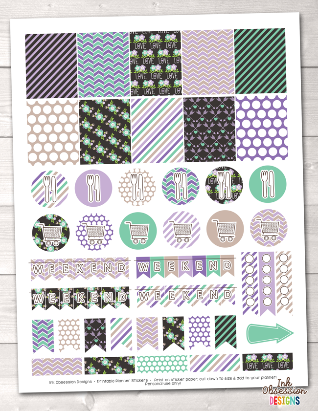 Floral Elements Purple Printable Planner Stickers Weekly Kit Instant Download PDF