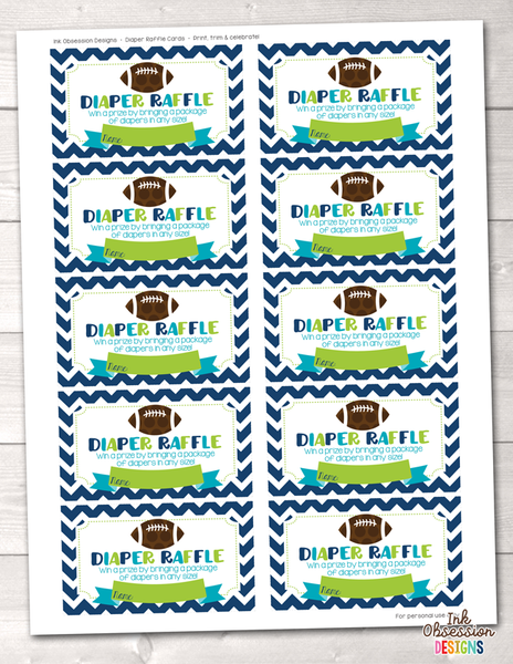 Football Baby Shower Printable Diaper Raffle Ticket