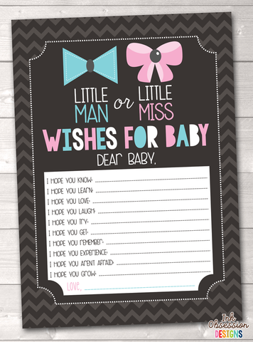 Gender Reveal Party Printable Baby Wishes Cards
