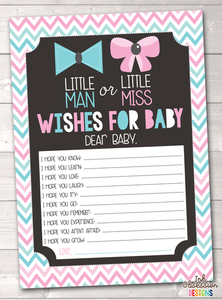 Gender Reveal Party Pink & Blue Chevron Printable Baby Wishes Cards