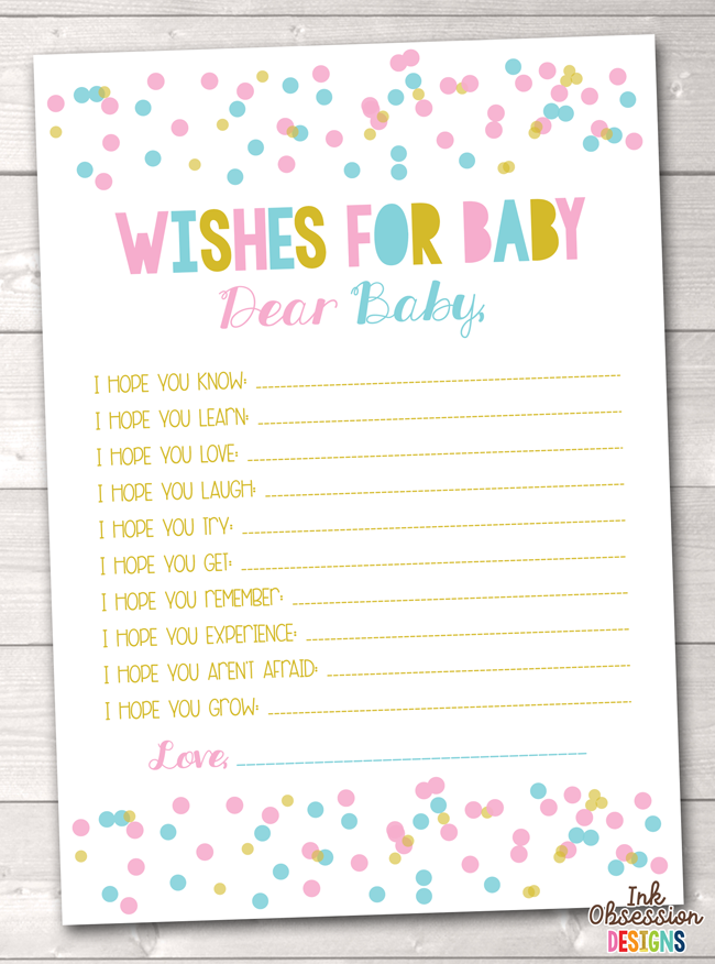 Polka Dot Confetti Pink & Blue Printable Baby Wishes Cards