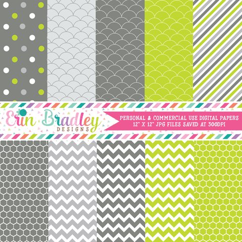 Lime and Gray Digital Paper Pack