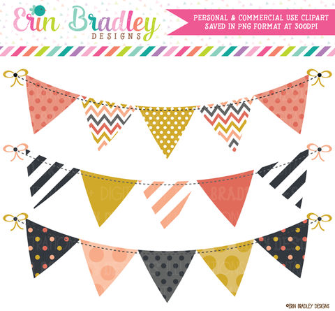 Commercial Use Bunting Clipart Graphics - Mod Fall