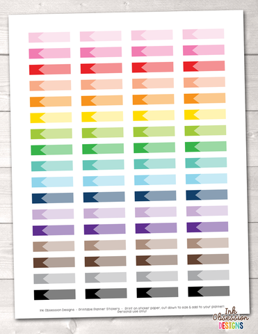 Ombre Labels Printable Planner Stickers