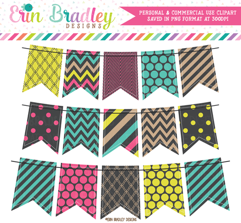 Pop of Color Bunting Clipart