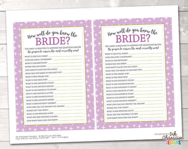 Purple Crosses How Well Do You Know the Bride Printable Bridal Shower Game
