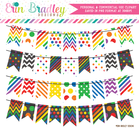 Commercial Use Rainbow Bunting Clipart Set
