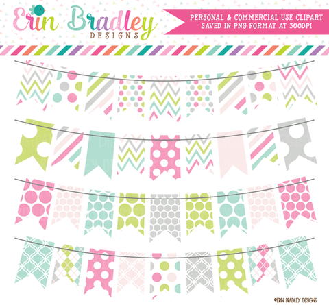 Commercial Use Bunting Clipart Pastel Banner Flags
