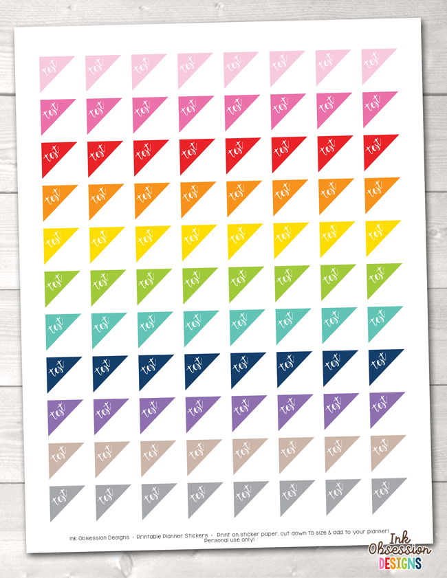 Test Triangles Printable Planner Stickers