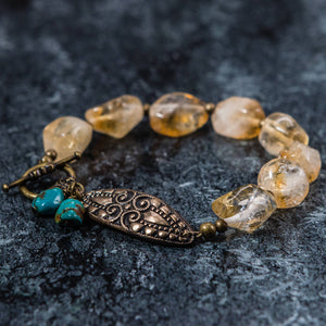 Hayley - Hand Stamped Bronze, Citrine and Turquoise Bracelet