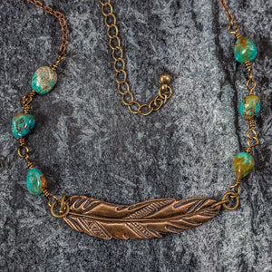 Hayley - Feather and Turquoise Necklace